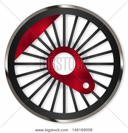 A single steam train driving wheel isolated on white