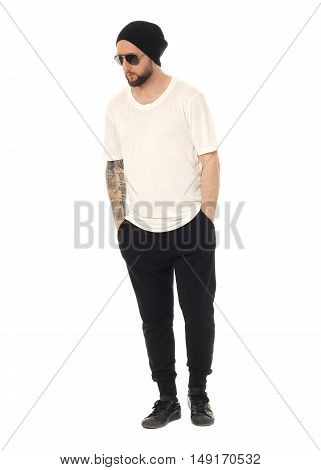 Handsome Young Man With A Beard Isolated