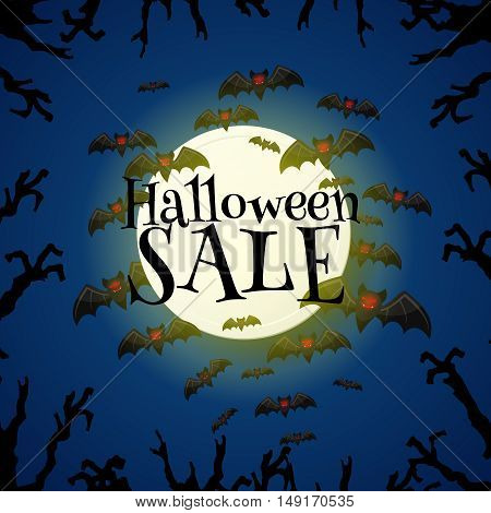 Halloween sale offer design template. Halloween sale lettering over moon and night sky with bats and trees hands. Cartoon style vector illustration