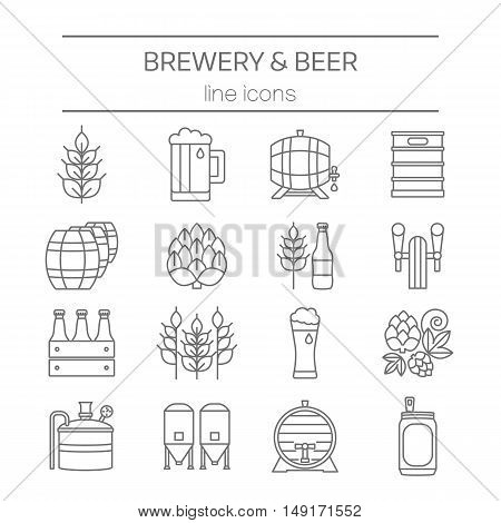 Big set of modern thin line icons of brewery icons and different beer symbols for pub, bar or other brewing related business isolated on background. Vector illustration. Octoberfest icon series.