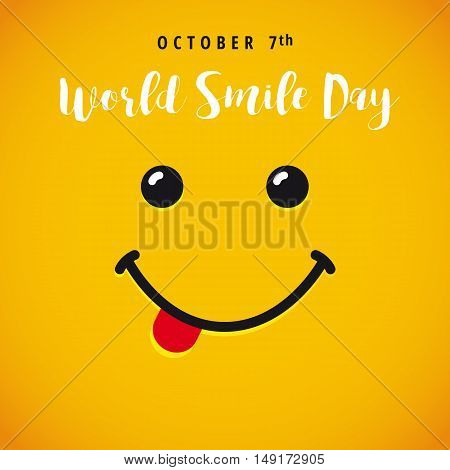 Smile with tongue and lettering World Smile Day on yellow background. World Smile Day banner