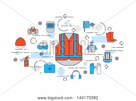 Thin line flat design banner of safety work including tools and protection elements. Webdesign and Email marketing. Modern vector illustration concept, isolated on white background