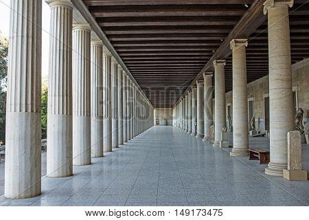 Stoa of Attalos in ancient Agora Athens Greece
