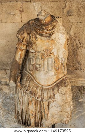 Statue of the personification of Odyssey in stoa of Attalos Athens Greece