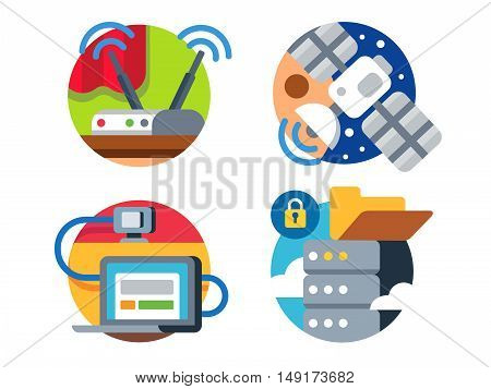 Internet technology by satellite transmission of information or data cloud icon set. Vector illustration