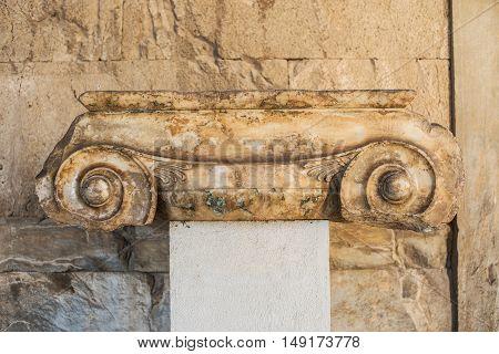 Ionic column in stoa of Attalos Athens Greece