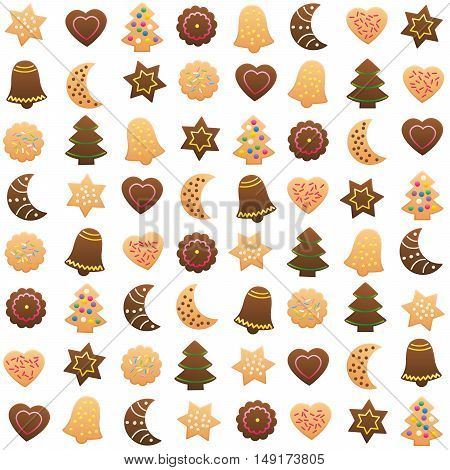 Christmas Cookies Variety Pattern. Isolated vector illustration on white background.