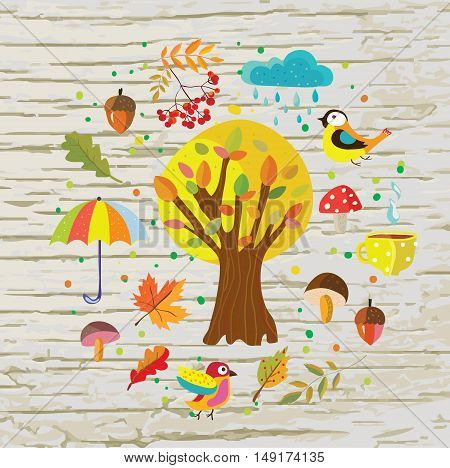 Autumn template background with nature objects tree rain and birds. Vector graphic illustration