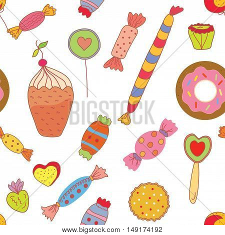 Sweets seamless pattern with candies and cookies - vector graphic illustration