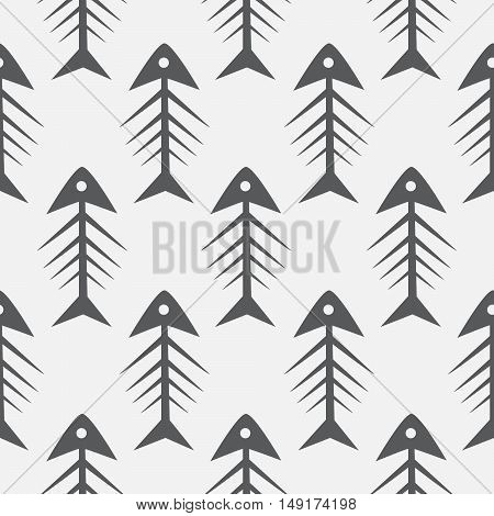 Fish bone monochrome seamless vector pattern. Black and white fishbone textile pattern design.