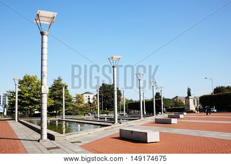 Cardiff, Wales, UK , September 14, 2016 :  Callaghan Square is a modern public plaza which was developed in 2000 to link the city centre with Cardiff Bay