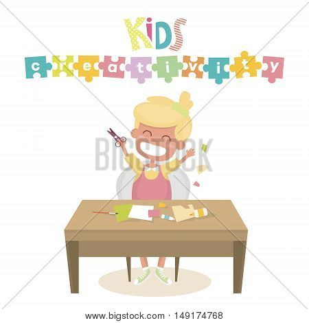 Kids Art-working process. Kids creativity vector illustration. Boy keeps brush and pencil in hands. Backgrund for kids art lessons or school.