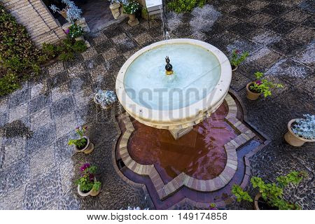 Typical andalusian Patio interior in Cordoba, Spain