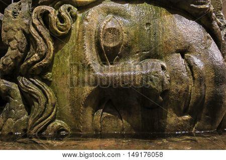 Medusa Head In The Basilica Cisterna In Istanbul, Turkey.