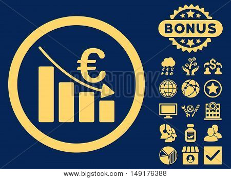 Euro Recession icon with bonus elements. Vector illustration style is flat iconic symbols yellow color blue background.