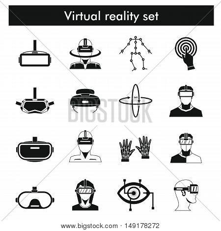 Virtual reality icons set in flat style. Virtual reality isolated objects for you design - stock vector. Icons and objects for virtual reality design