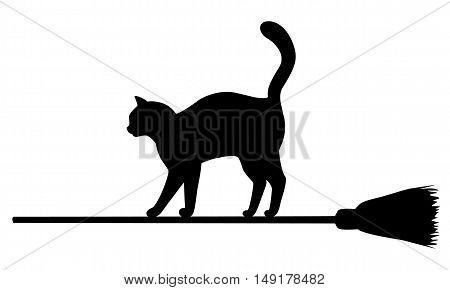 Silhouette of black cat flying on broomstick. Halloween illustration.