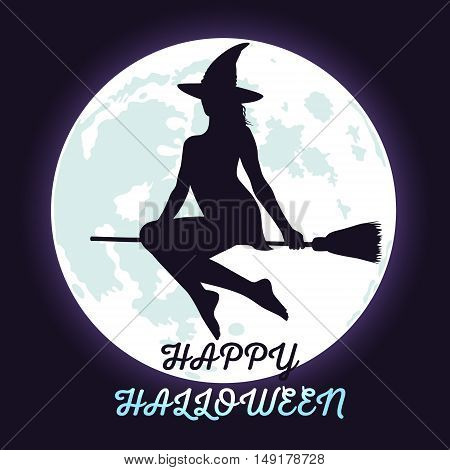 Silhouette of Halloween witch flying in the dark sky shining fool moon background and lettering Happy Halloween.