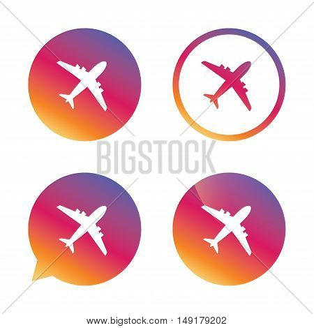 Airplane sign. Plane symbol. Travel icon. Flight flat label. Gradient buttons with flat icon. Speech bubble sign. Vector