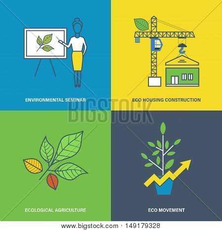 Concept of environmental seminar, eco housing construction, ecological agriculture, eco movement. Vector illustration. Can be used for banners, advertising, brochures.