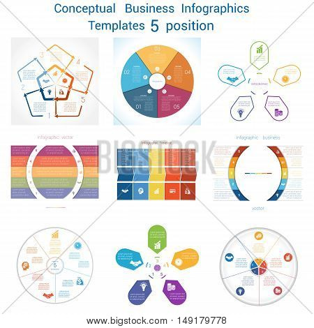 Set Vector templates Infographics business conceptual cyclic processes for five positions text area possible to use for pie chart workflow banner diagram web design timeline area chart