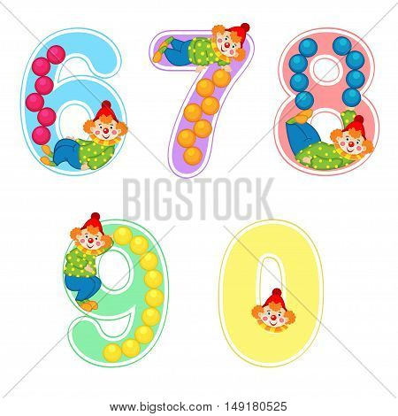 set of numbers with clown juggler from 6 to 9 - vector illustration, eps
