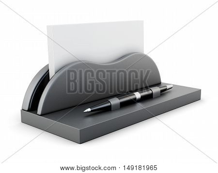 Business Card Holder With Pen Isolated On White Background. 3D Rendering