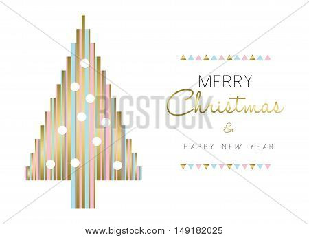 Christmas Tree And New Year Design In Gold Color