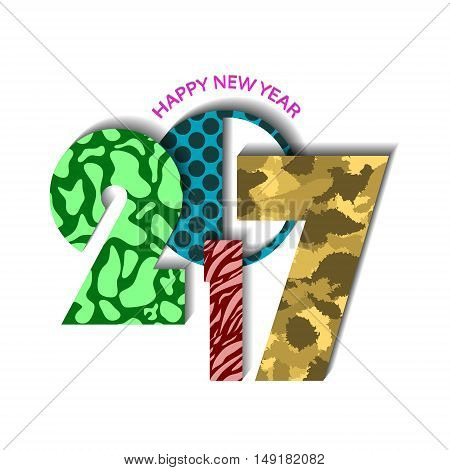 Textured Urban New Year 2017 Concept On White Background. Vector Illustration
