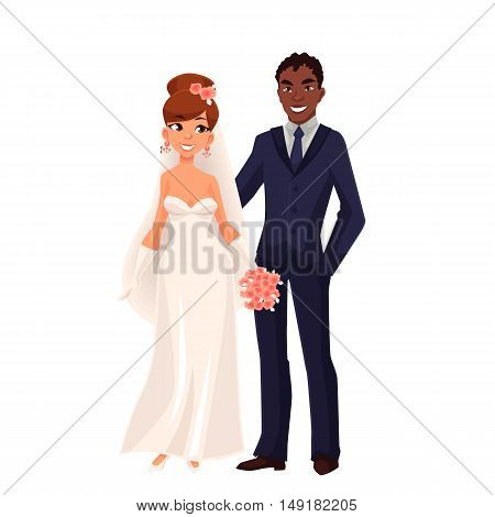 Caucasian bride and African groom, just married couple, cartoon vector illustration isolated on white background. White bride and black groom, mixed couple, wedding ceremony