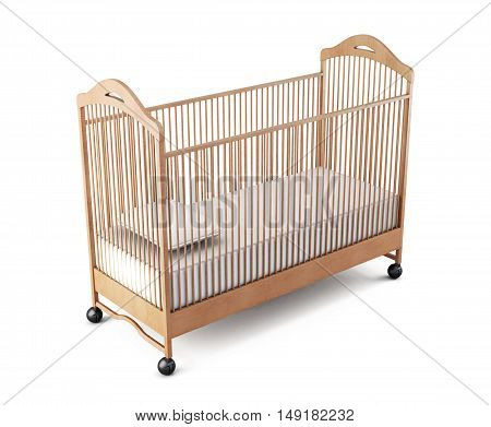 Wooden Crib Baby Isolated On White Background. 3D Rendering