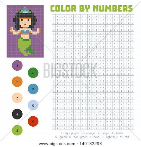Color by number, education game for children, Mermaid