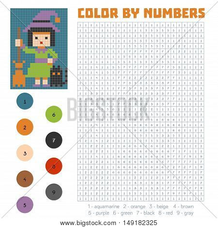 Color by number, education game for children, Witch