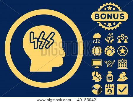 Headache icon with bonus elements. Vector illustration style is flat iconic symbols yellow color blue background.
