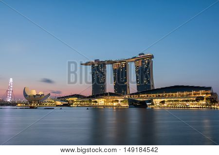 SINGAPORE - JUNE 26 2015 : Landscape of the Singapore city at sunrise on June 26 2015 in Singapore.
