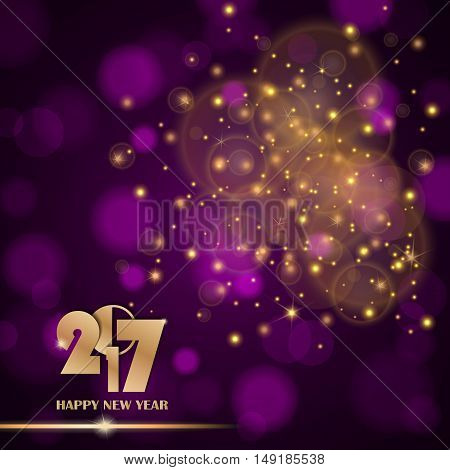 Golden Lights Abstract On Purple Ambient Blurred Background. New Year 2017 Concept. Luxury Design. V