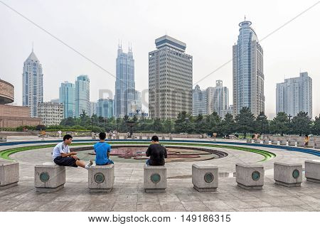Shanghai, China - August 15, 2011: View of People's Square adjacent to Nanjing Road in the Huangpu District of Shanghai, China. Is the site of Shanghai's municipal government headquarter building.