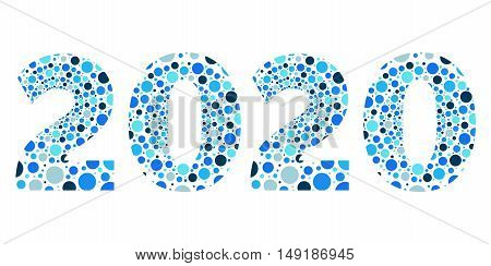 2020 Happy New Year bubble vector blue isolated symbol