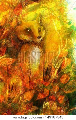 Orange fox sitting in grass in sun rays, colorful painting with leaf ornament.