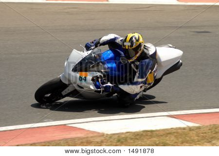 Close-up of a biker on superbike on track in South Africa. Editorial use only. poster