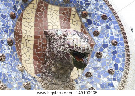 Mosaic snake by Gaudi in Park Guell Barcelona Spain.
