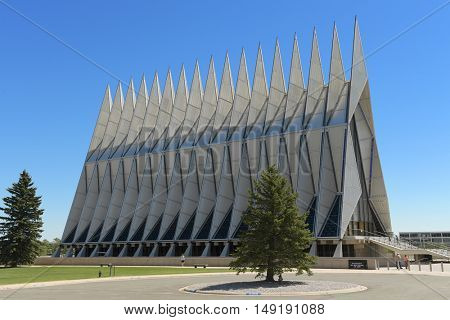 Colorado Springs, CO, USA - July 23, 2016: Air Force Academy Chapel in Colorado Springs, Colorado.