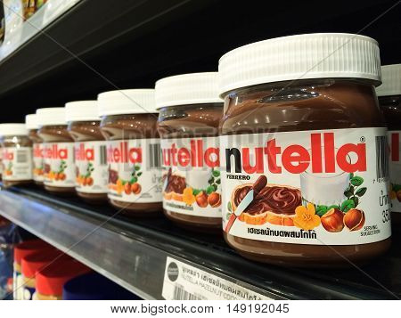 BANGKOK Thailand - September 13 2016: Jar of Nutella Hazelnut on Shelf in Supermarket Nutella is the brand name of a sweetened hazelnut cocoa spread. Manufactured by the Italian company Ferrero.