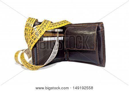 Open wallet with measuring tape, saving money,