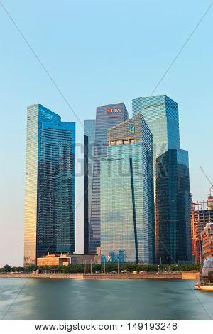 SINGAPORE - JUNE 26 2015 : Singapore skyline of business district in morning time on June 26 2015 in Singapore.