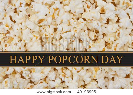Happy Popcorn Day greeting Popcorn background and text Happy Popcorn Day