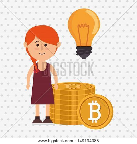 woman bit coin idea vector illustration eps 10