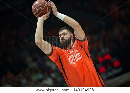 VALENCIA, SPAIN - SEPTEMBER 25th: Dubljevic during match between Valencia Basket and Estudiantes at Fonteta Stadium on September 25, 2016 in Valencia, Spain