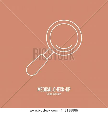 Magnifying glass. Single logo in modern thin line style isolated on brown background. Outline medical symbol. Simple mono linear pictogram. Stroke vector logotype template.