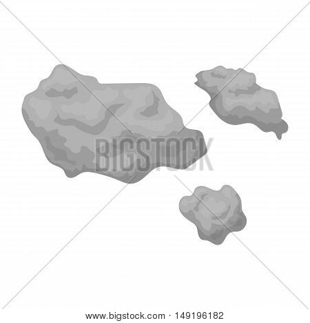 Asteroid icon in cartoon style isolated on white background. Space symbol vector illustration.